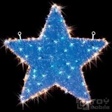 Светодиодное панно «Звезда» с мишурой (56х56см,24 диода)