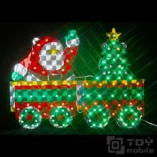 Светодиодное панно «Санта на поезде», голографическая основа (52х40см,101 диодов)