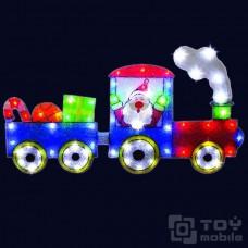 Светодиодное панно «Санта на поезде» (79х44см,48 диодов)