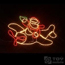 Фигура из дюралайта «Санта на самолете» (92х65см)