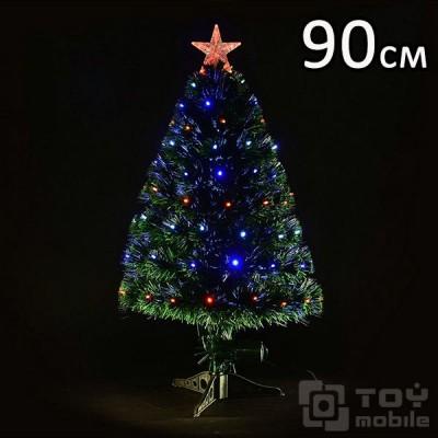 Оптоволоконная елка искусственная со светодиодами (90см)