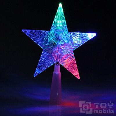 Верхушка-наконечник на елку звезда светодиодная (22см)