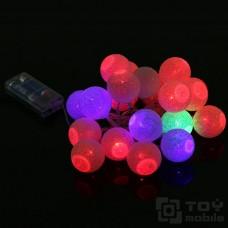 Гирлянда цветные хлопковые шарики на батарейках 10шт.