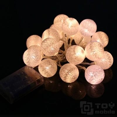 Гирлянда золотые шарики из ниток на батарейках 10LED