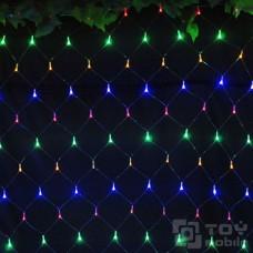 Светодиодная сетка 160 ламп (1х1м, прозрачный провод)