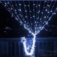 Уличный светодиодный занавес  280 ламп (2х1,8м,IP54,прозрачный провод)