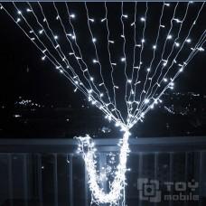 Уличный светодиодный занавес  300 ламп (2х2,5м,IP54,прозрачный провод)