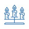 Новогодние светильники горки и светодиодные свечи LED