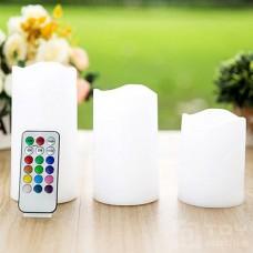 Набор из трех восковых свечей с пультом управления (3 RGB светодиода)